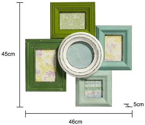 Combination Photo Frame for Five Pictures - Green Distressed Finish image 2