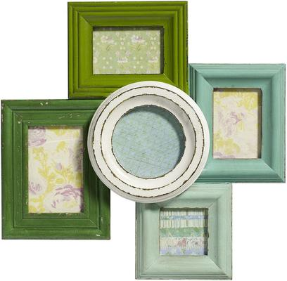 Combination Photo Frame for Five Pictures - Green Distressed Finish