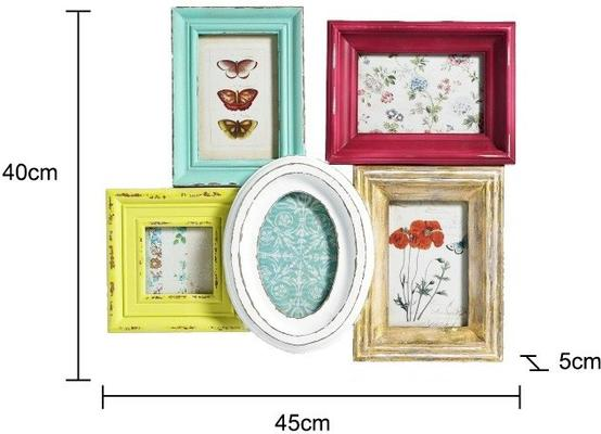 Multicoloured Combination 5 Photo Frame - Distressed image 2