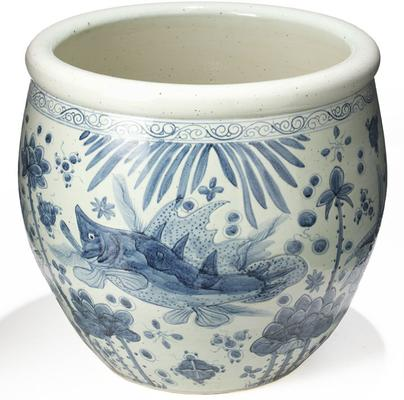Blue and White Fish Bowl Planter
