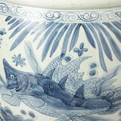 Blue and White Fish Bowl Planter image 2
