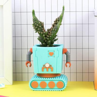 Planter Bot Funky Flower Pot - Blue