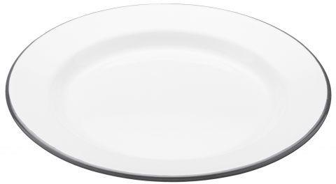 Enamel White Dinner Plate with Grey Trim image 2