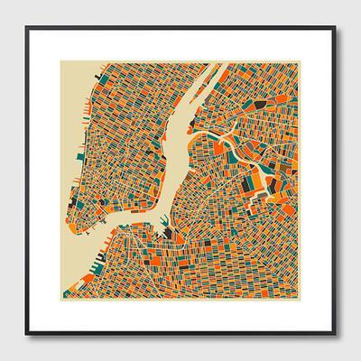 New York Map Framed Print