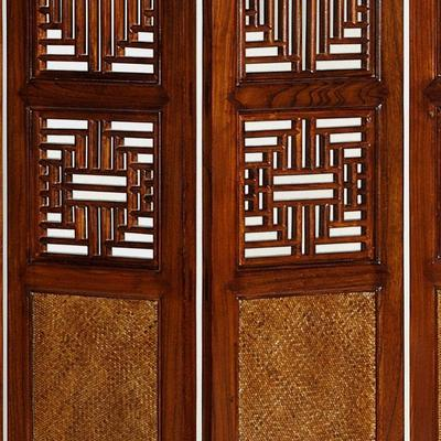 Carved Ming Screen, Warm Elm image 3