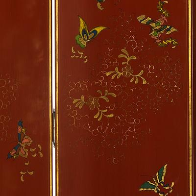 Shanxi Butterfly Screen, Red Lacquer image 3