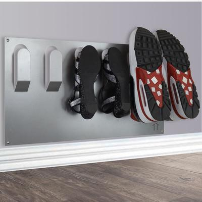 Horizontal Wall Mounted Metal Shoe Rack - Metallic Silver