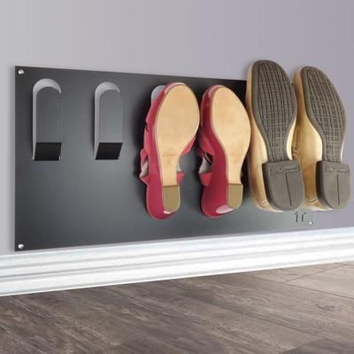 Horizontal Wall Mounted Metal Shoe Rack - Black