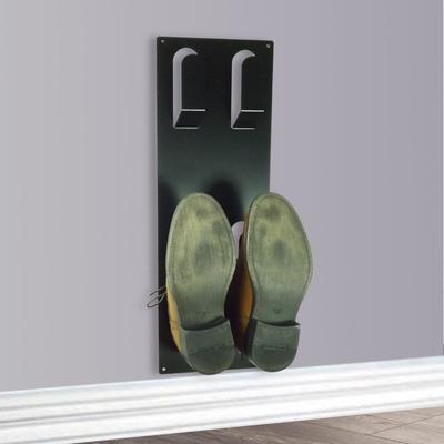 Slimline Wall Mounted Metal Shoe Rack - Black
