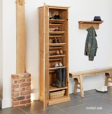 Mobel Oak Tall Shoe Cupboard Modern Design image 3