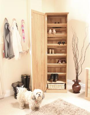 Mobel Oak Tall Shoe Cupboard Modern Design image 6