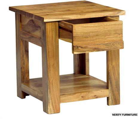 Acacia Solid Wood End Table One Drawer