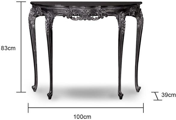 Ornate Black Side Table French Style image 2