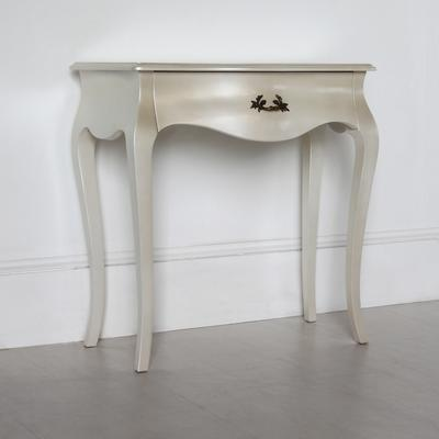 Curvy French Small Side Table in Pearlescent Creamy White image 2