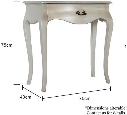 Curvy French Small Side Table in Pearlescent Creamy White image 5