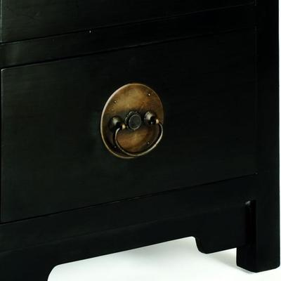 Ming Two Drawer Chest, Black Lacquer image 3
