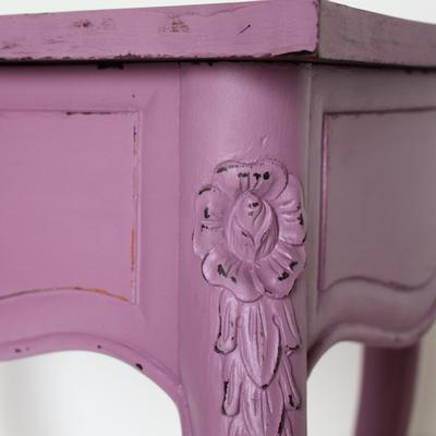Heart-Shaped Side Table Mauve with Lifting Lid image 2