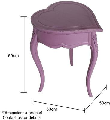 Heart-Shaped Side Table Mauve with Lifting Lid image 4