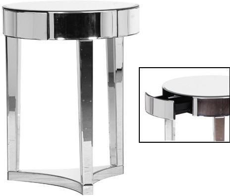 Mirrored Circular Side Table