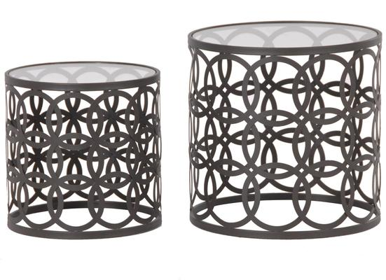 Nesting Glass Topped Tables with Metal Hoops