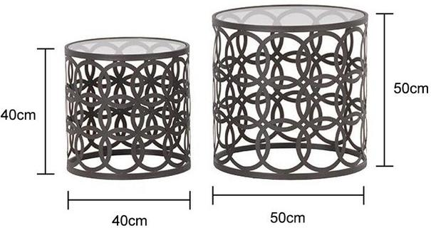 Nesting Glass Topped Tables with Metal Hoops image 2