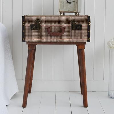 Fabric Covered Suitcase Side Table