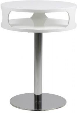 Caspian Contemporary Lamp Table White High Gloss with Chrome Stand