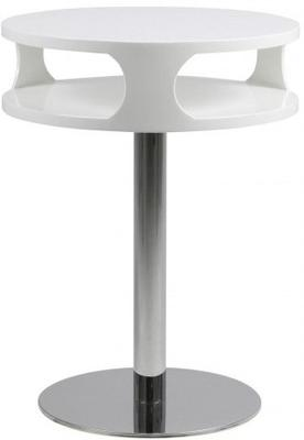 Caspian Contemporary Lamp Table White High Gloss with Chrome Stand image 2