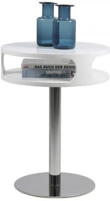 Caspian Contemporary Lamp Table White High Gloss with Chrome Stand image 3