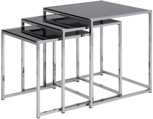 Cross Modern Nest of Tables Black Glass Top Chrome Frame