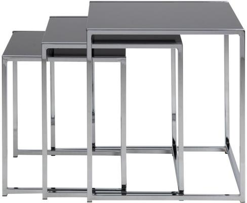 Cross Modern Nest of Tables Black Glass Top Chrome Frame image 2
