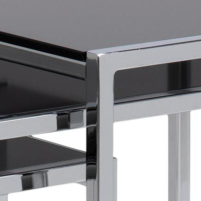 Cross Modern Nest of Tables Black Glass Top Chrome Frame image 3