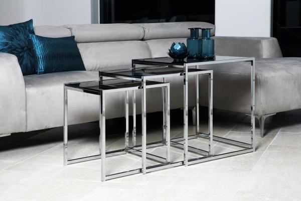 Cross Modern Nest of Tables Black Glass Top Chrome Frame image 4