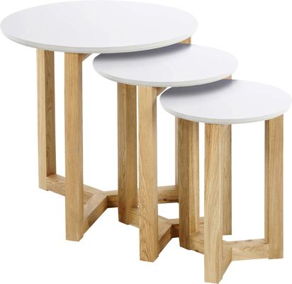 Osaki Modern Nest of Tables Oak with White Top