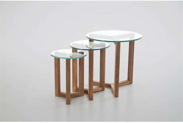 Osaka Modern Nest of 3 Tables in Oak with Glass Tops image 2