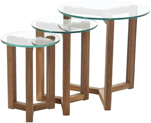 Osaka Modern Nest of 3 Tables in Oak with Glass Tops