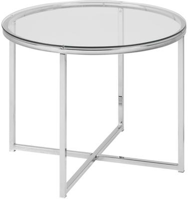 Cross Modern Round Lamp Table Glass Top and Chrome Legs image 2