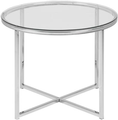 Cross Modern Round Lamp Table Glass Top and Chrome Legs image 3