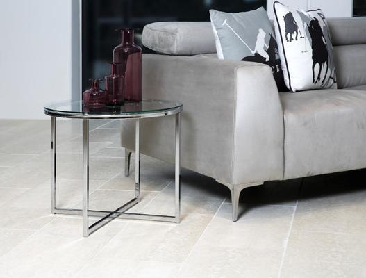 Cross Modern Round Lamp Table Glass Top and Chrome Legs image 5
