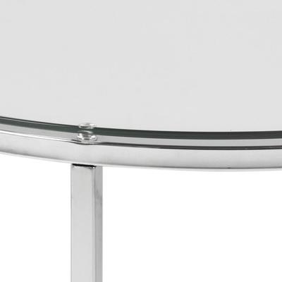 Cross Modern Round Lamp Table Glass Top and Chrome Legs image 7