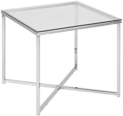 Cross Modern Square Lamp Table Glass Top Metal Frame image 2
