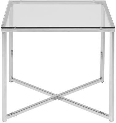 Cross Modern Square Lamp Table Glass Top Metal Frame image 4