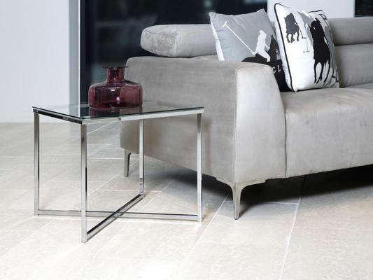 Cross Modern Square Lamp Table Glass Top Metal Frame image 6