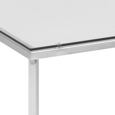 Cross Modern Square Lamp Table Glass Top Metal Frame image 8