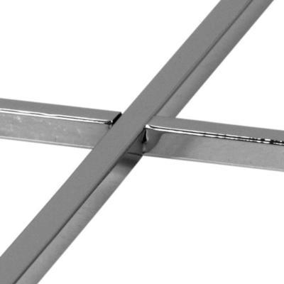 Cross Modern Square Lamp Table Glass Top Metal Frame image 9