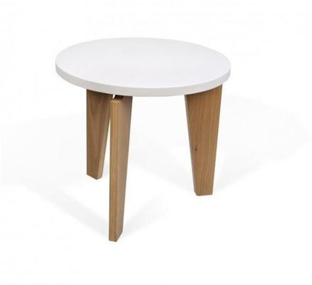 TemaHome Magnolia Modern Side Table - Matt White Top with Oak Legs