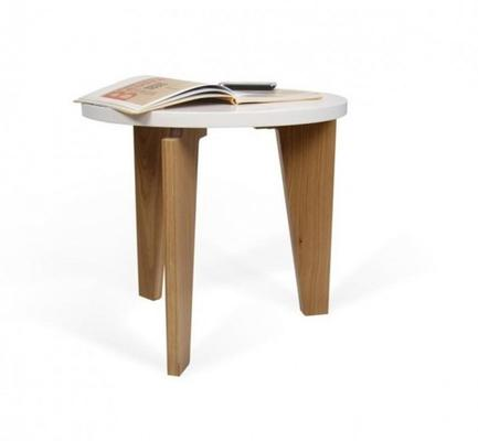 TemaHome Magnolia Modern Side Table - Matt White Top with Oak Legs image 2