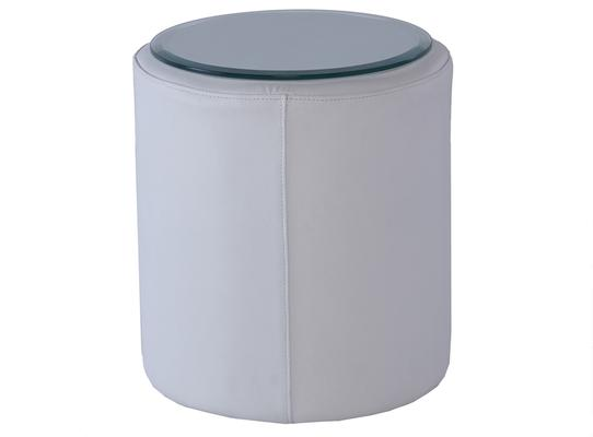 Enzo Cylinder Side Table White Leather with Glass Top