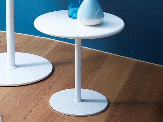 Walter Modern Circular Side Table - White Gloss Lacquer