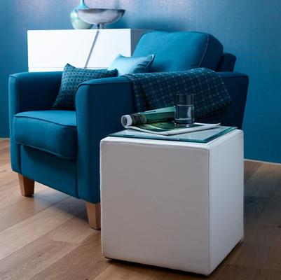Enzo Cube Side Table White Leather with Glass Top image 2